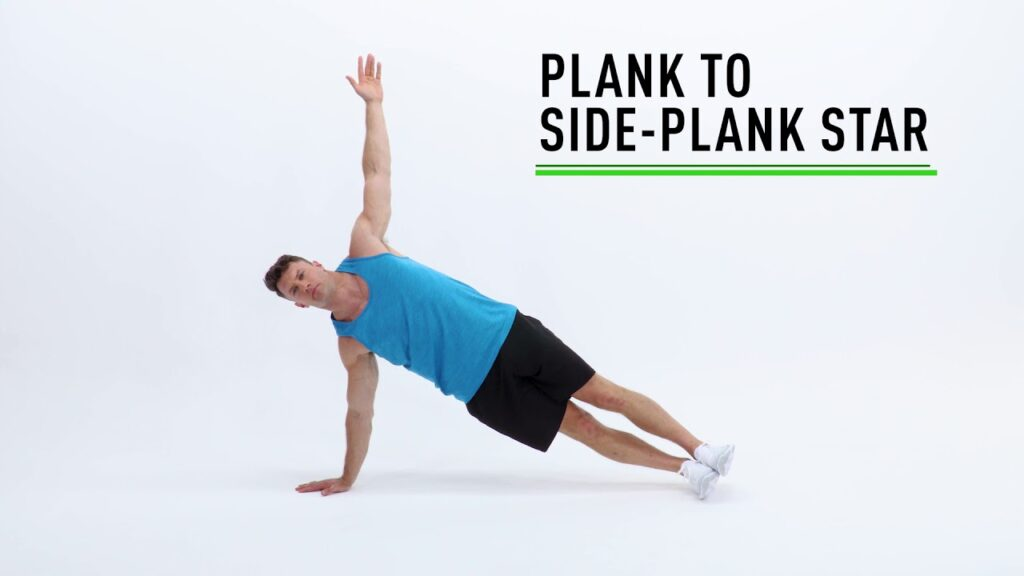 star plank practicing pose
